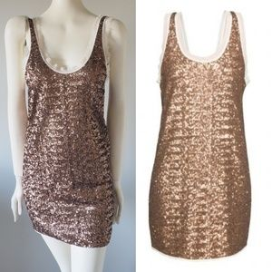 ARITZIA Wilfred BARBIZON Mini Sequin Gold Dress